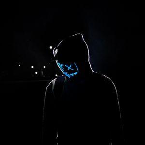 Preview wallpaper man, hood, mask, neon, glow