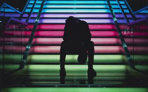 Preview wallpaper man, ladder, colorful