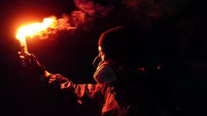 Preview wallpaper man, mask, flare, fire, dark