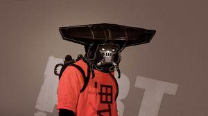 Preview wallpaper man, mask, gun, art