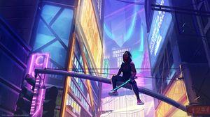 Preview wallpaper ninja, mask, sword, buildings, neon, cyberpunk, art