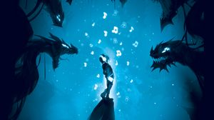 Preview wallpaper man, music, dragons, music lover