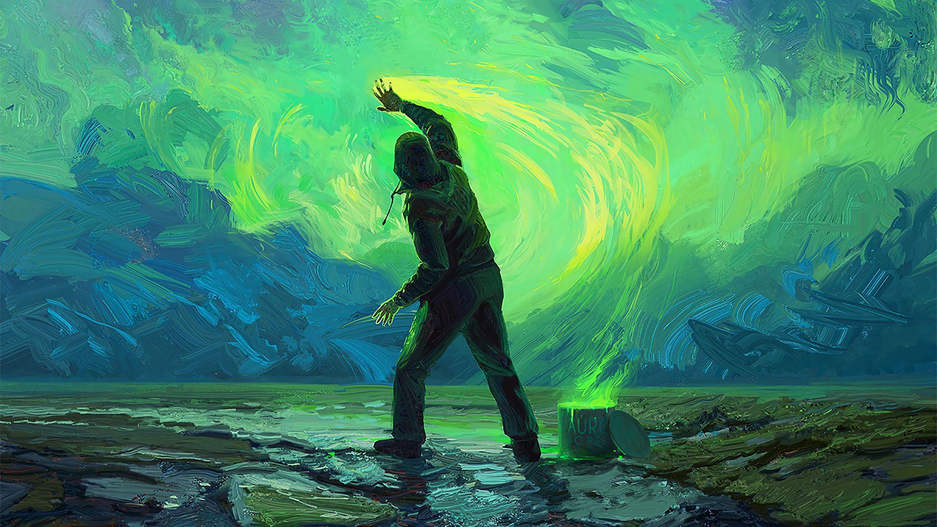 1920x1080 Wallpaper man, paint, sky, painting, bright