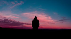 Preview wallpaper man, silhouette, sky, night
