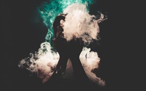 Preview wallpaper man, smoke, hands, colorful smoke