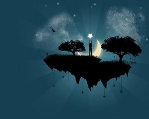Preview wallpaper man, star, island, trees, silhouette