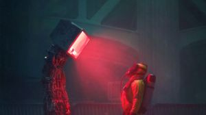 Preview wallpaper man, suit, protection, robot, screen, apocalypse