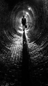 Preview wallpaper man, suit, tunnel, black and white