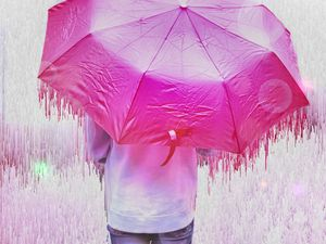 Preview wallpaper man, umbrella, glitch, stripes, drips, pink