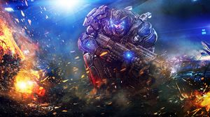 Preview wallpaper man, warrior, armor, weapons, fire