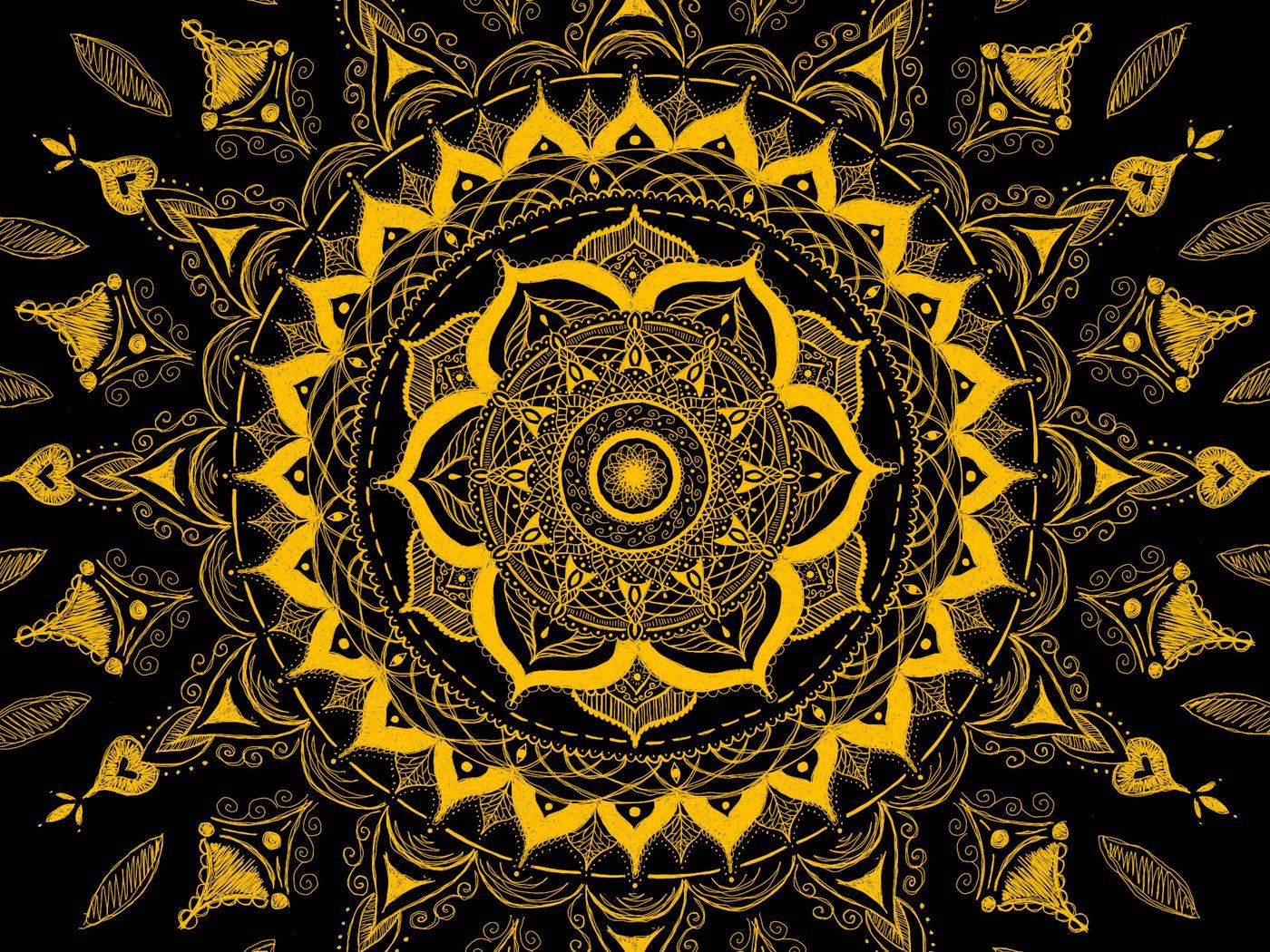 1400x1050 Wallpaper mandala, pattern, abstraction, tangled, yellow