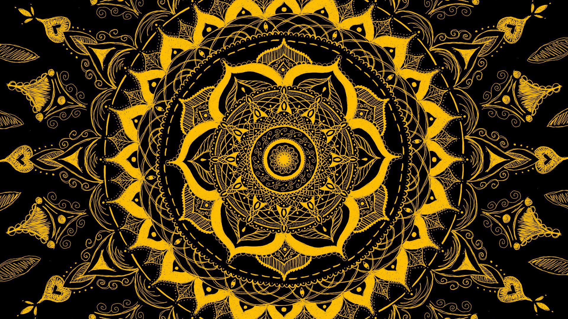 1920x1080 Wallpaper mandala, pattern, abstraction, tangled, yellow