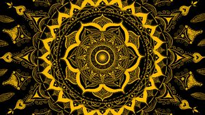 Preview wallpaper mandala, pattern, abstraction, tangled, yellow