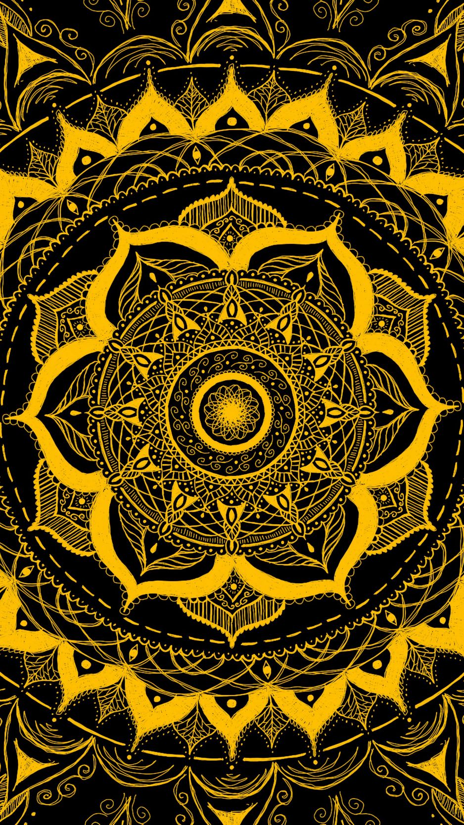 938x1668 Wallpaper mandala, pattern, abstraction, tangled, yellow