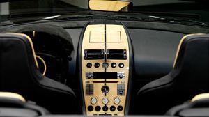Preview wallpaper mansory, aston martin, db9, salon, interior, steering wheel