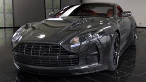 Preview wallpaper mansory, aston martin, dbs, 2009, black, front view, style, reflection