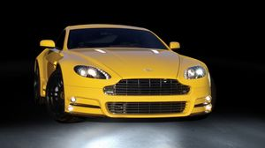Preview wallpaper mansory, aston martin, v8, vantage, yellow, front view, style, sports