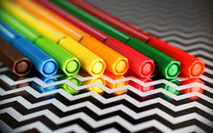 Preview wallpaper markers, caps, colorful, bright, reflection