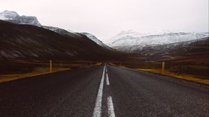 Preview wallpaper marking, road, asphalt, mountains, sky
