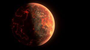Preview wallpaper mars, planet, cranny, lava, black