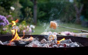 Preview wallpaper marshmallow, dessert, coals, fire