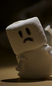 Preview wallpaper marshmallows, sweets, snowman, smiley, sad