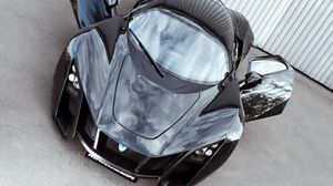 Preview wallpaper marussia, b2, black, supercar, front view, doors