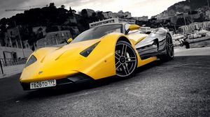 Preview wallpaper marussia, yellow, blue, city, front bumper