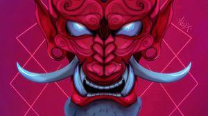Preview wallpaper mask, demon, horns, fangs, art