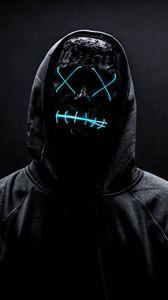 Preview wallpaper mask, neon, anonymous, black