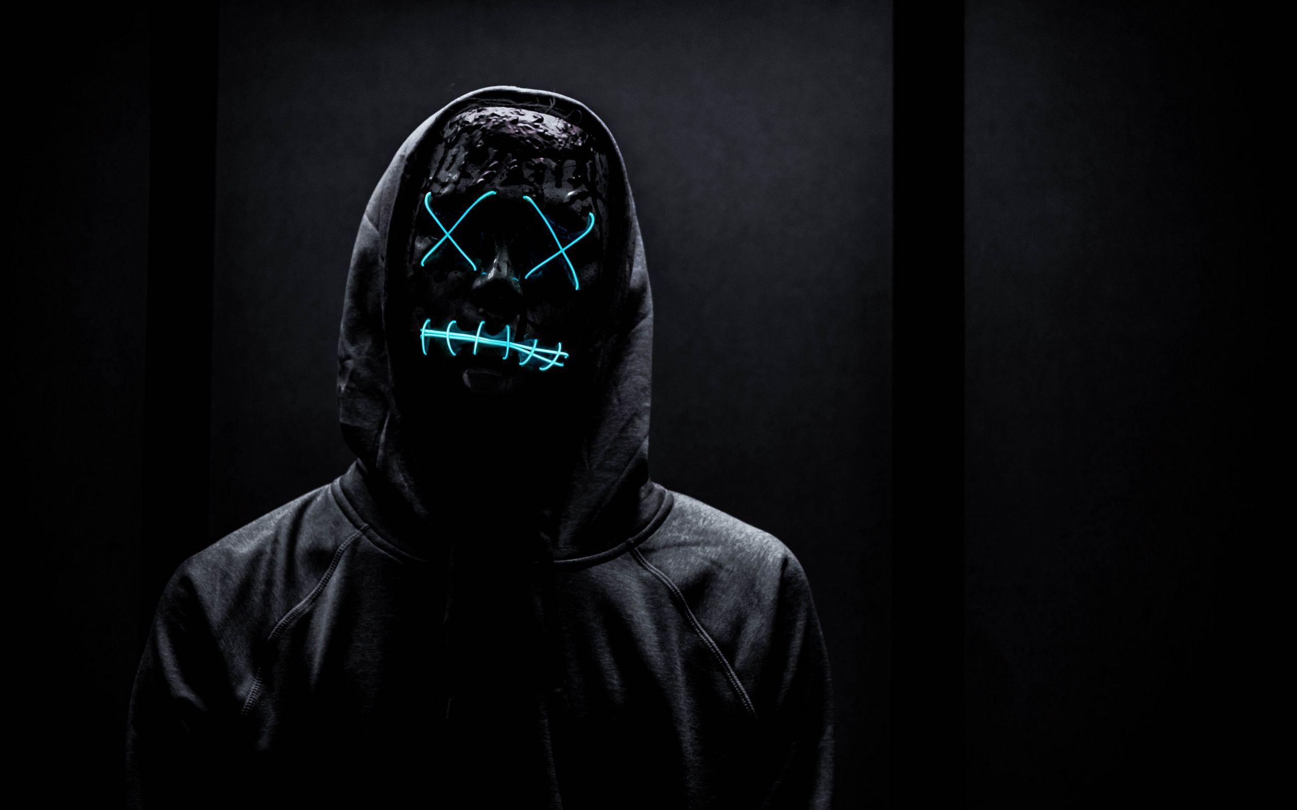 2560x1600 Wallpaper mask, neon, anonymous, black