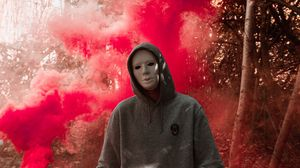 Preview wallpaper mask, colored smoke, anonymous, hood
