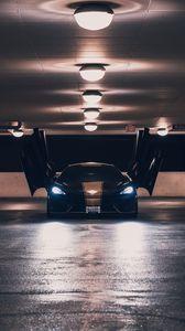 Preview wallpaper mclaren, sports car, parking, doors, lights