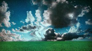 Preview wallpaper meadow, clouds, field, rain