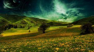 Preview wallpaper meadow, nature, summer, grass, sky