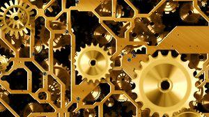 Preview wallpaper mechanism, gears, gold