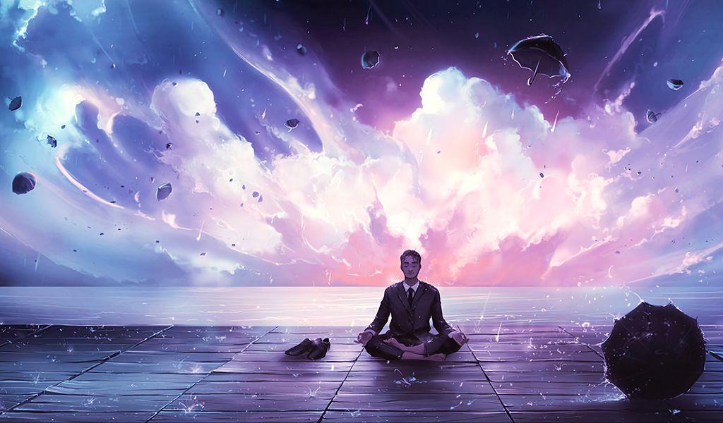 1024x600 Wallpaper meditation, calmness, harmony, art, man, rain, eureka