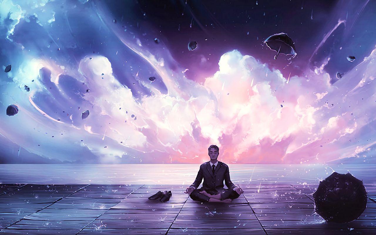 1280x800 Wallpaper meditation, calmness, harmony, art, man, rain, eureka