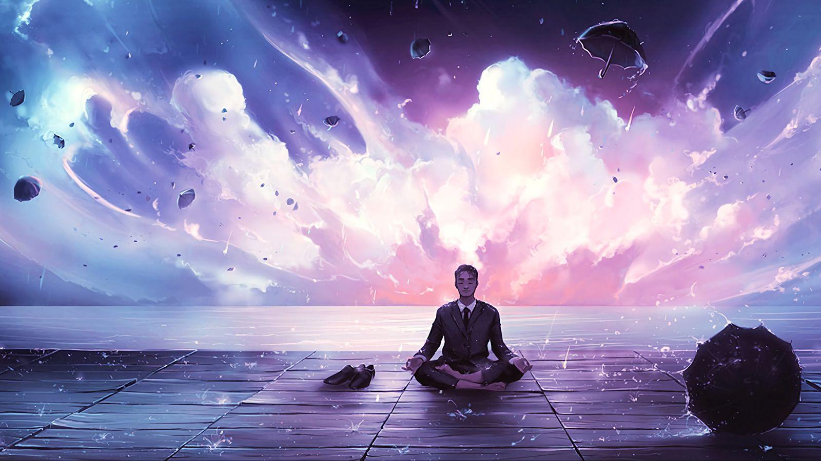 1600x900 Wallpaper meditation, calmness, harmony, art, man, rain, eureka