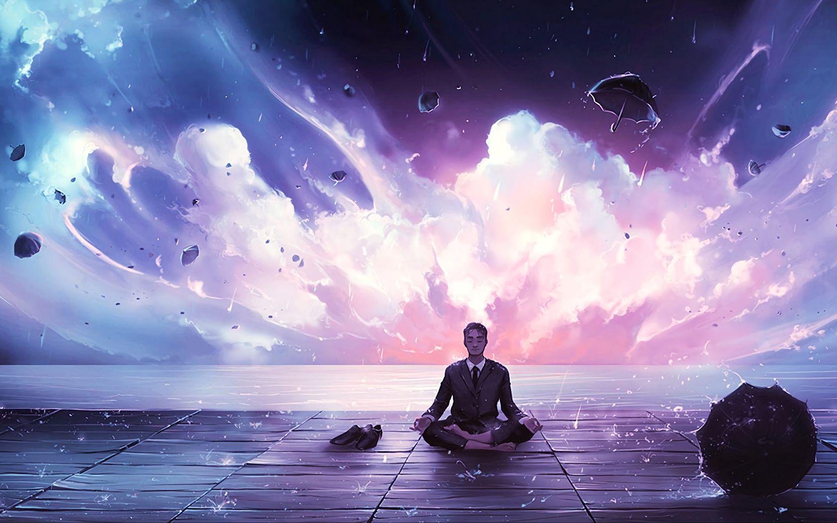 1680x1050 Wallpaper meditation, calmness, harmony, art, man, rain, eureka