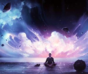 Preview wallpaper meditation, calmness, harmony, art, man, rain, eureka
