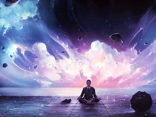 320x240 Wallpaper meditation, calmness, harmony, art, man, rain, eureka