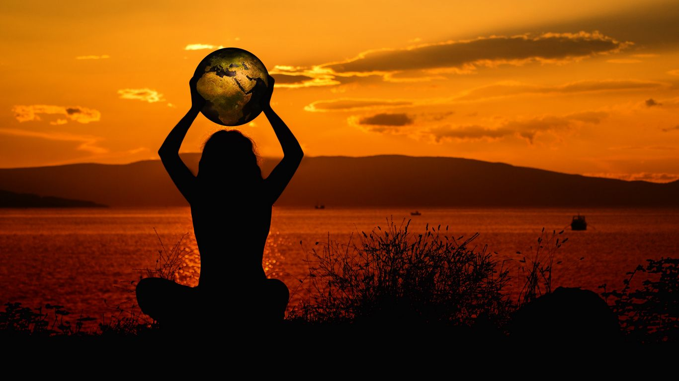 1366x768 Wallpaper meditation, silhouette, earth, harmony, solitude