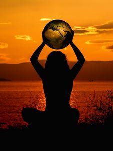 Preview wallpaper meditation, silhouette, earth, harmony, solitude