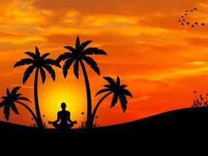 Preview wallpaper meditation, yoga, silhouette, palm trees, harmony