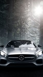 Preview wallpaper mercedes benz, mercedes-amg, front view, silver, wood
