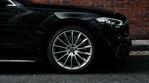 Preview wallpaper mercedes, car, black, side view, wheel