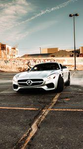 Preview wallpaper mercedes, car, sports car, gray, drift