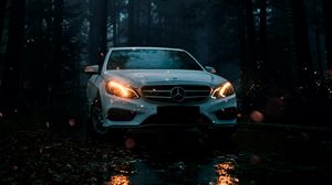 Preview wallpaper mercedes, car, white, front view, forest