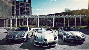 Preview wallpaper mercedes, three, sports cars, mercedes slr mclaren